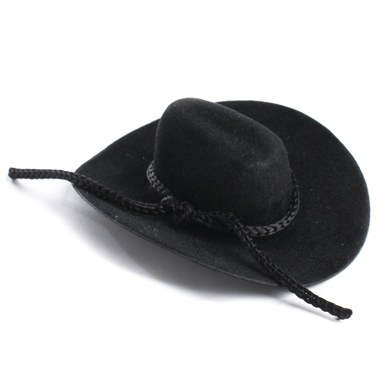 Black flocked miniature cowboy hat doll hats doll for Tiny cowboy hats for crafts