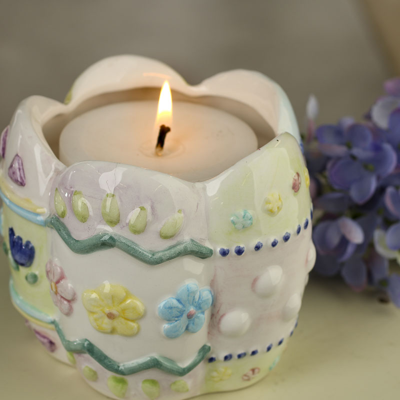 Ceramic Easter Flowers Candle Holder Candles And