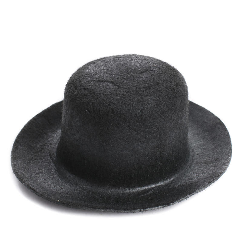 Miniature black flocked felt top hat doll hats doll for Tiny top hats for crafts
