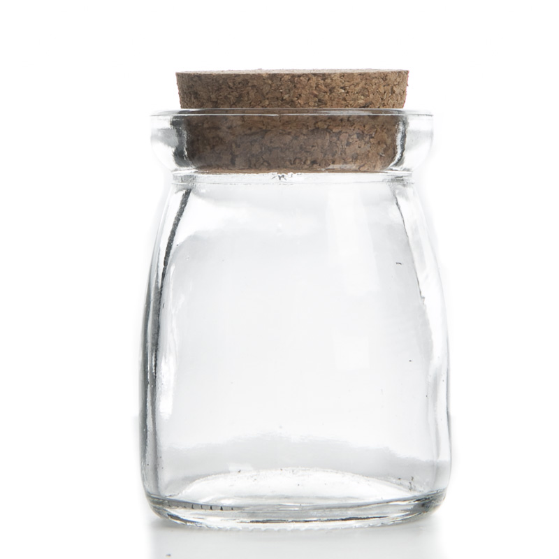 Small corked clear glass jar decorative containers for Small bathroom jars