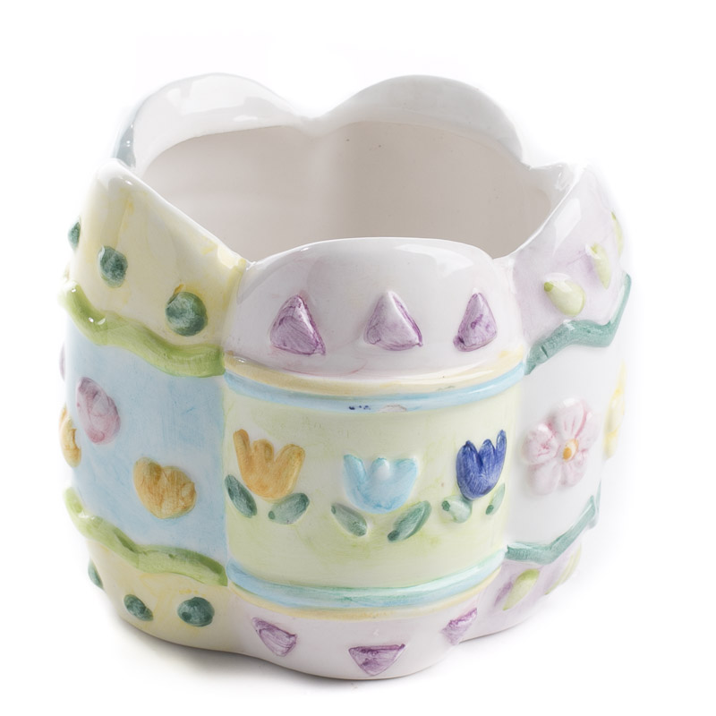 Ceramic easter flowers candle holder on sale holiday for Candle holder crafts