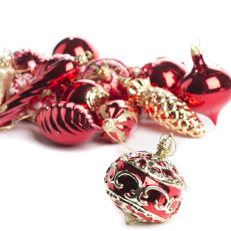 Christmas Ornaments Red And Gold : Vintage inspired red and gold christmas ornaments