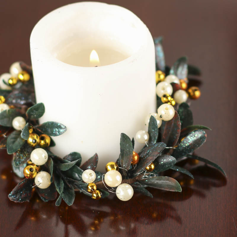 holiday artificial leaf and berry pearl candle ring candles and accessories home decor. Black Bedroom Furniture Sets. Home Design Ideas