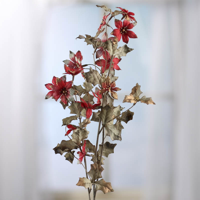 Shimmering Red Artificial Christmas Flower Branch - Picks and ...