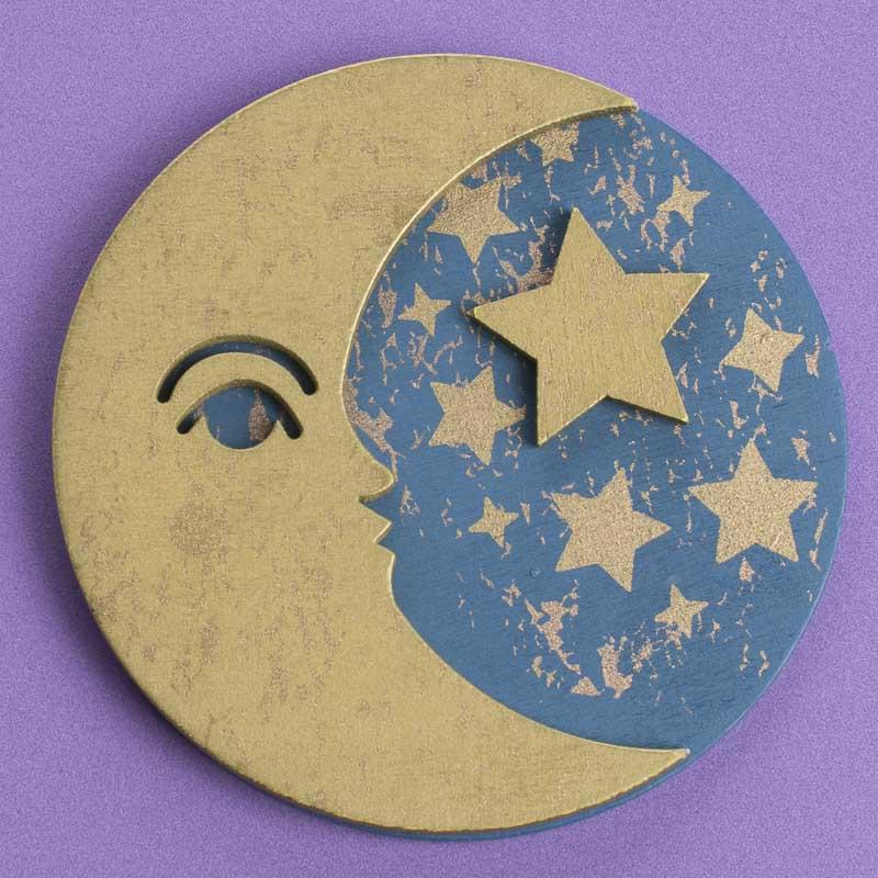 Finished dimensional moon and star wood cutout for Moon and stars crafts