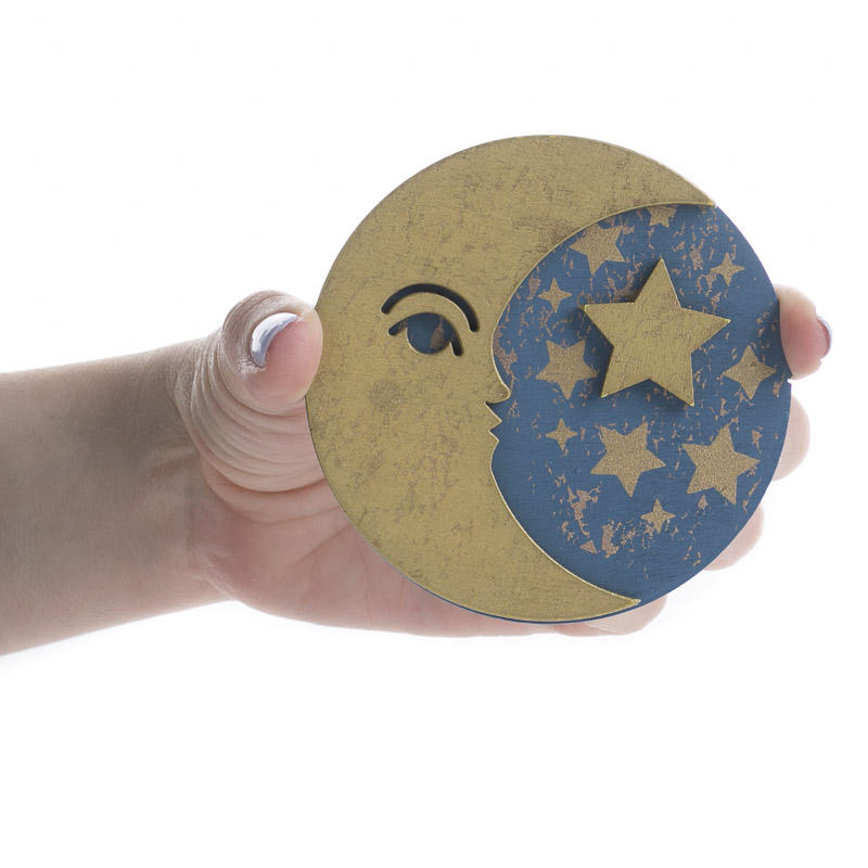 Finished dimensional moon and star wood cutout wood for Moon and stars crafts