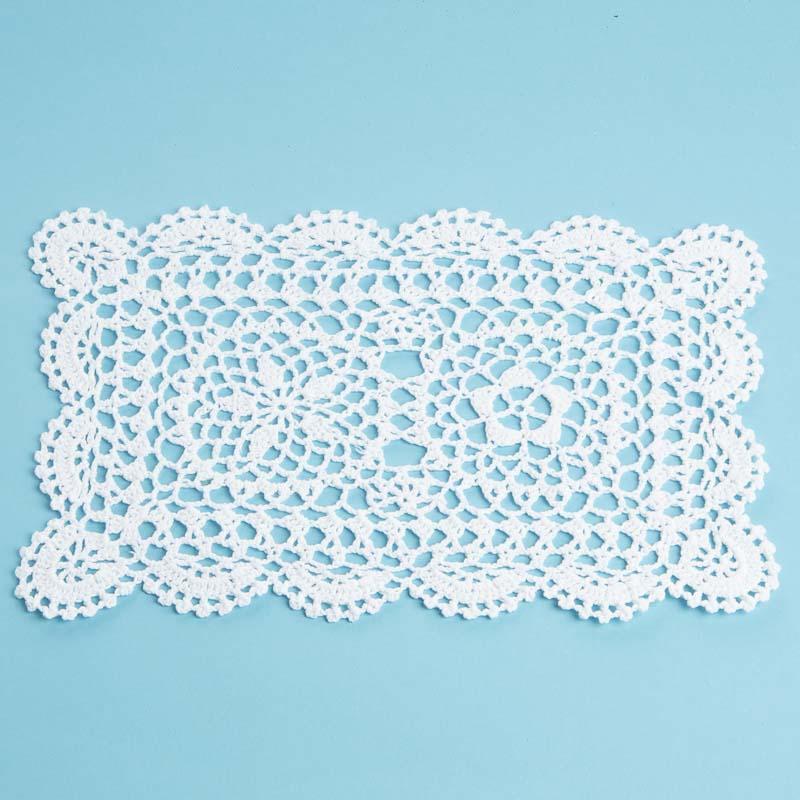 Free Crochet Patterns For Rectangular Doilies : Rectangular White Crocheted Doily - Crochet and Lace ...