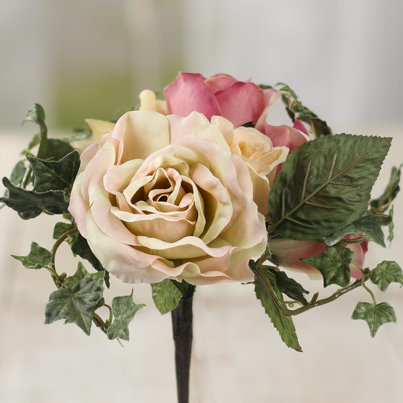 Pink And Green Petite Artificial Ivy And Rose Bouquet Bushes And