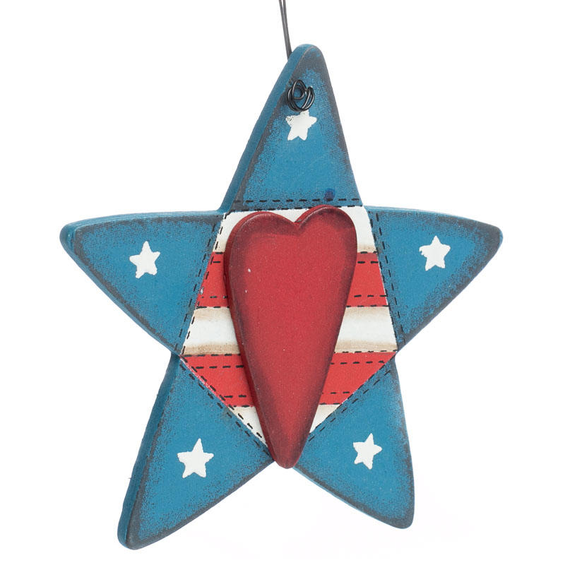 Primitive Stitched Americana Star Ornament - Christmas ...
