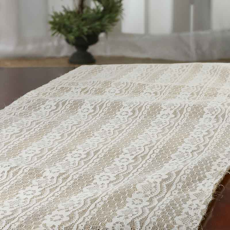 Click Here For A Larger View & Jute and Lace Table Runner - Table Covers and Runners - Wedding ...