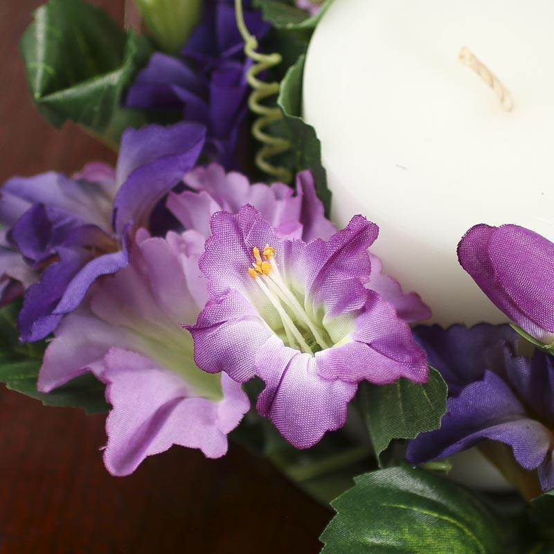 Violet And Orchid Purple Artificial Trumpet Flower Candle