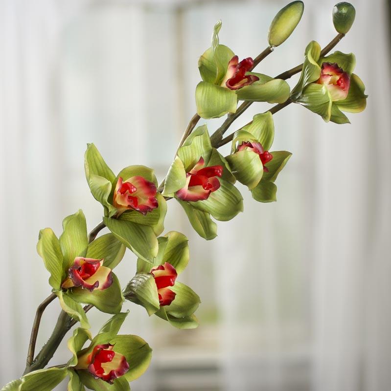 Green Artificial Cymbidium Orchid Stem Picks Sprays