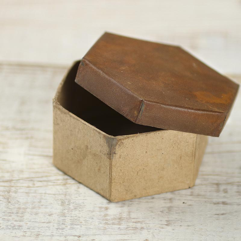 Decorative Boxes With Lids For Paper : Rusty tin lid paper mache box baskets buckets boxes