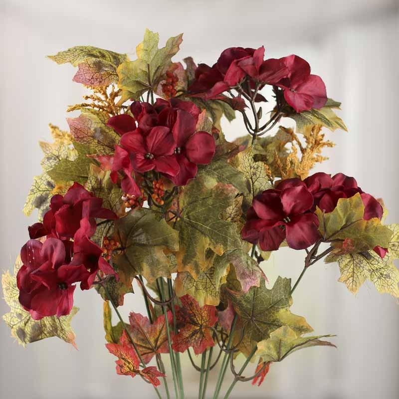 burgundy artificial hydrangea and maple leaf bush