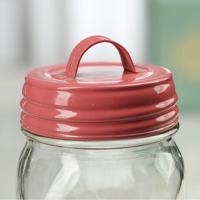 Coral Mason Jar Lid with Handle - Jar Lids - Basic Craft ...