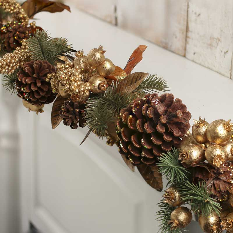 Large gold artificial berry and pine garland christmas