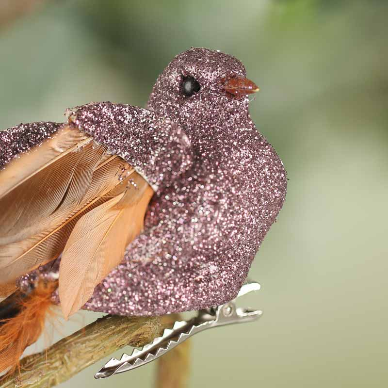 Mauve sparkling artificial bird birds butterflies for Fake birds for crafts