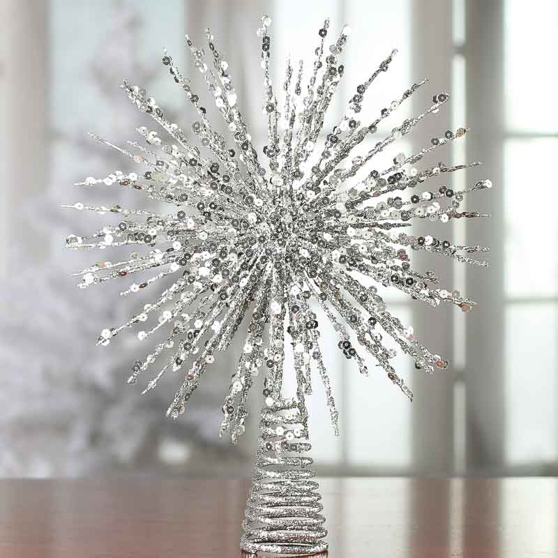 Silver Glittered Wire Starburst Tree Topper Trees And