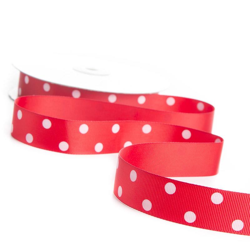 Red white polka dot grosgrain ribbon ribbon and trims for Red and white polka dot decorations