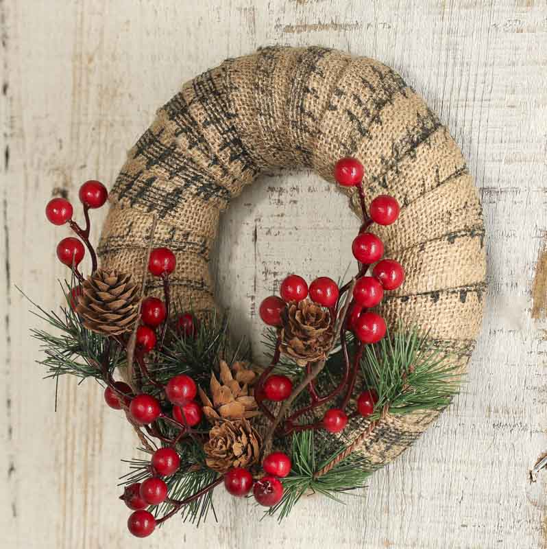 Rustic artificial pine and musical burlap wreath craft for Craft wreaths for sale