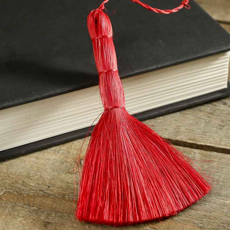Miniature red abaca broom straw brooms fall and for Straw brooms for crafts