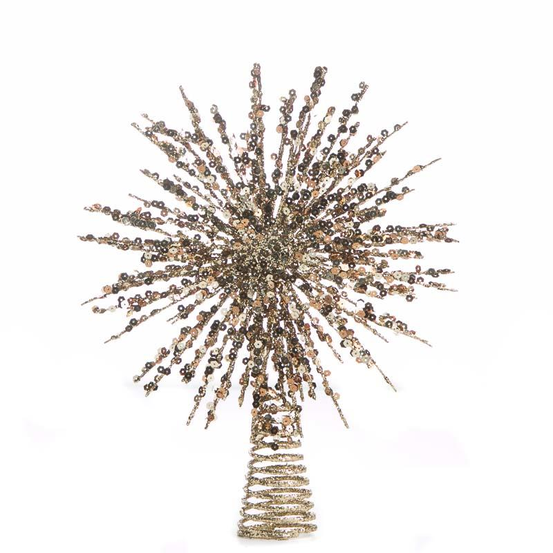 Gold Glittered Wire Starburst Tree Topper Trees And
