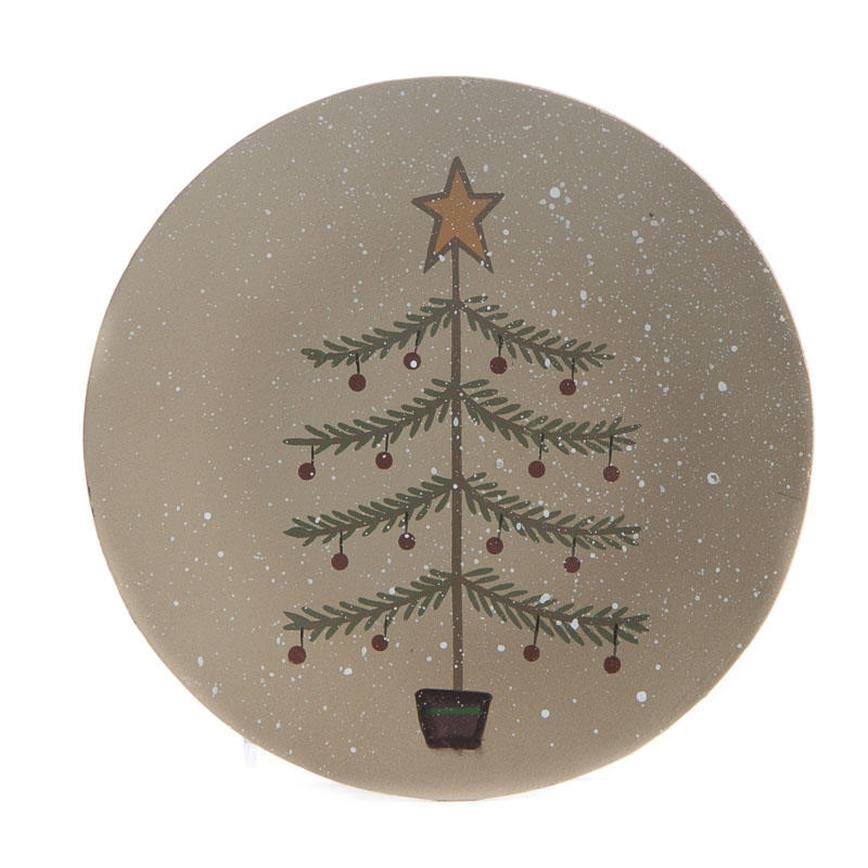 Compare Size  sc 1 st  Factory Direct Craft & Primitive Wood Christmas Tree Plate - Decorative Plates and Bowls ...