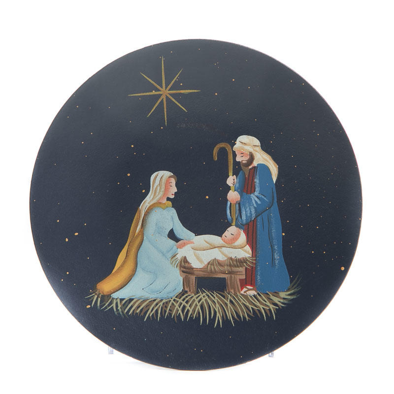 Primitive Wood Nativity Scene Plate Decorative Plates