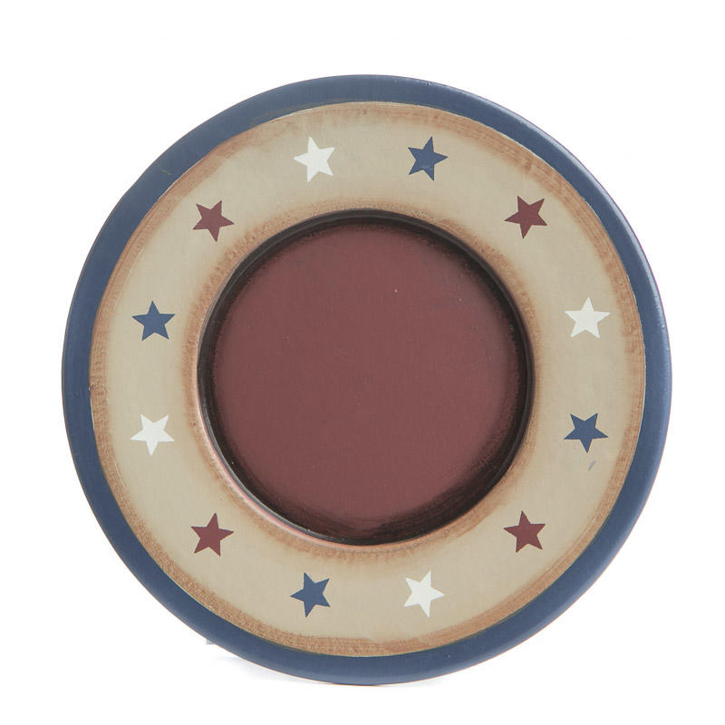 Small Decorative Plates Sets: Primitive Americana Star Wood Plate