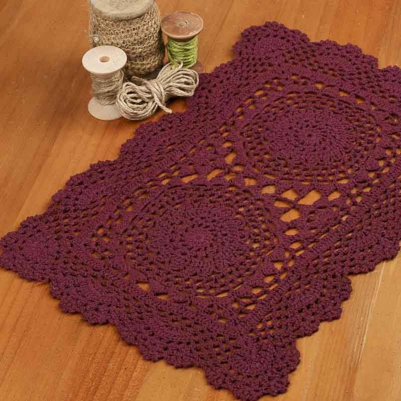 Burgundy Rectangular Crocheted Doily - Crochet and Lace ...