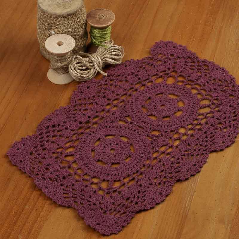 Free Crochet Patterns For Rectangular Doilies : Wine Rectangular Crocheted Doily - Crochet and Lace ...