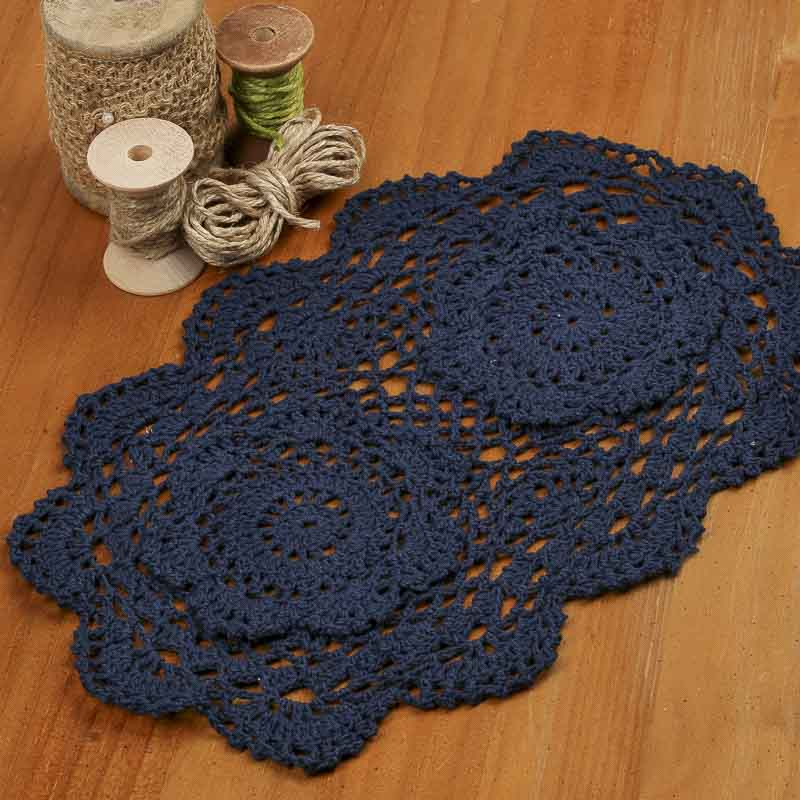 Crochet Oval : Navy Oval Crocheted Doily - Crochet and Lace Doilies - Home Decor