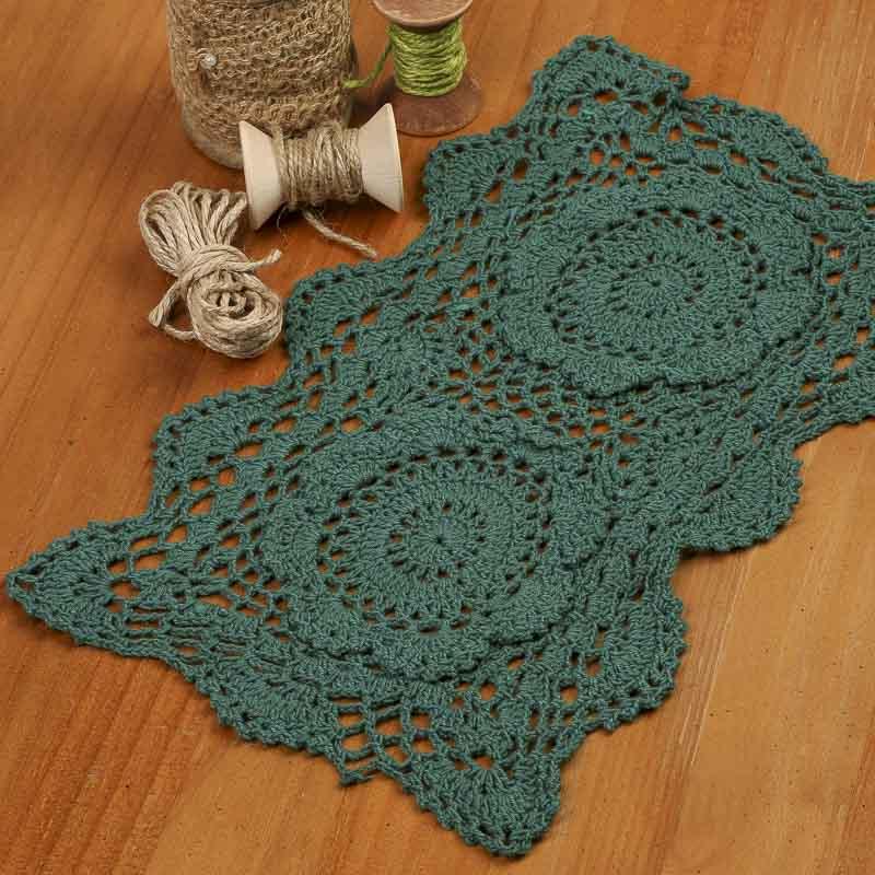 Hunter Green Rectangular Crocheted Doily - Crochet and ...