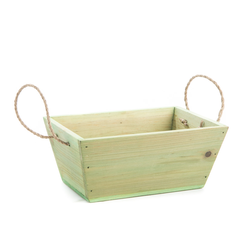 Green Rustic Wood Basket Baskets Buckets Boxes