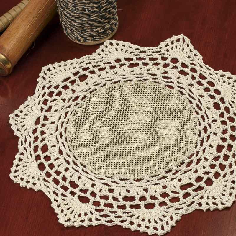 Crochet Stitches Round : Ecru Round Crocheted Cross Stitch Doily - On Sale - Home Decor