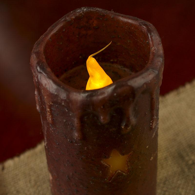 Grubby Burgundy Folk Star LED Battery-Operated Pillar Candle ...