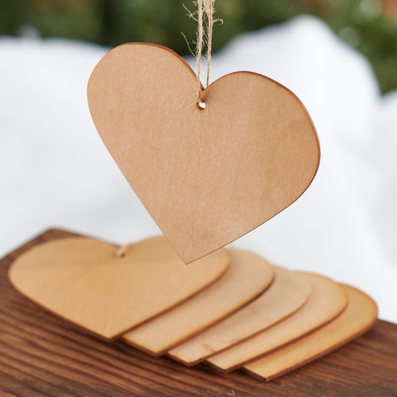 Unfinished wood laser cut heart ornaments wooden hearts for Wooden craft supplies online