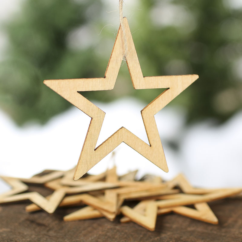 Unfinished Wood Laser Cut Star Ornaments Christmas