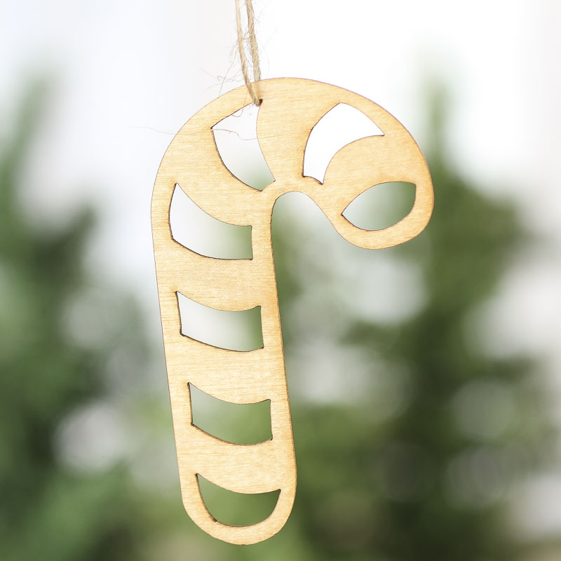 Unfinished Wood Laser Cut Candy Cane Ornaments