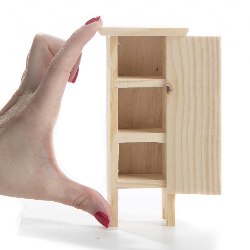 Unfinished Wood Open Door Storage Closet Miniature