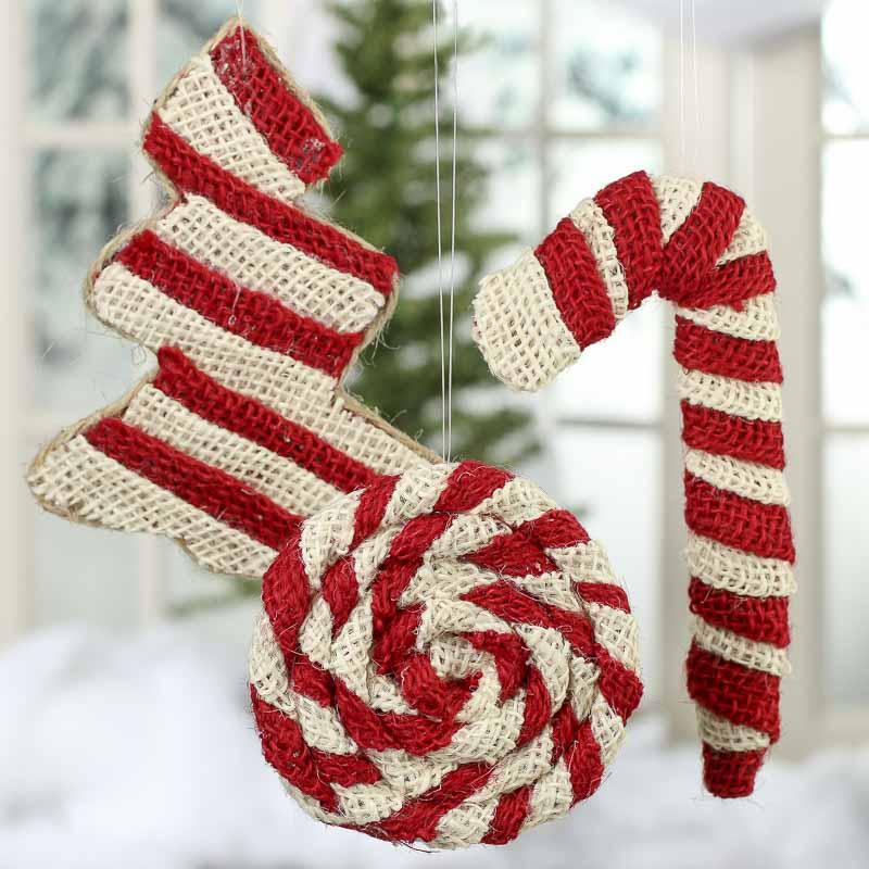 Rustic burlap christmas ornaments christmas and holiday for Burlap christmas decorations to make