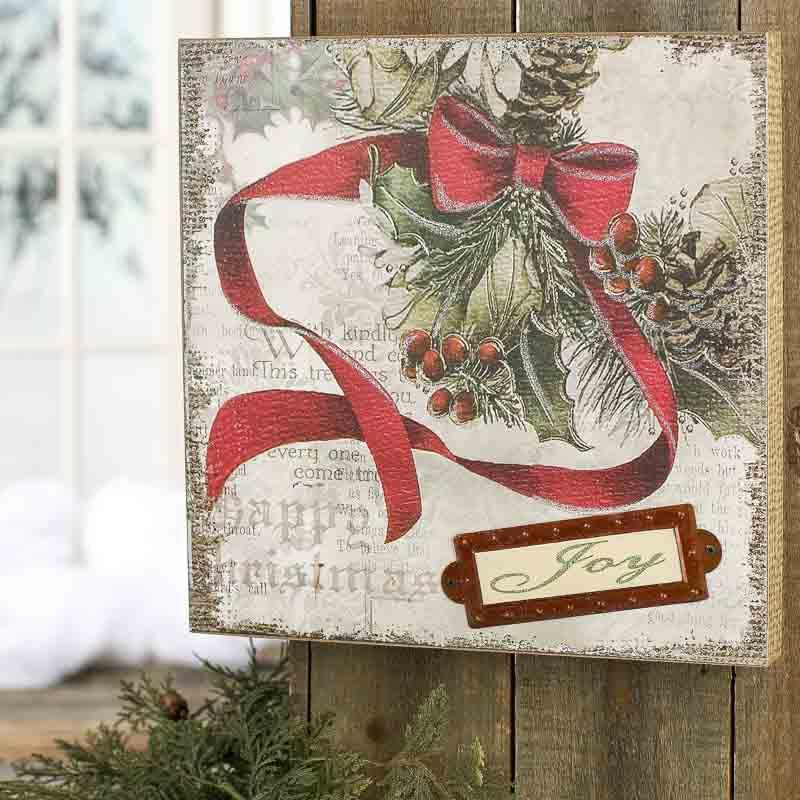 Vintage Christmas Wall Decor : Vintage inspired christmas quot joy wall art