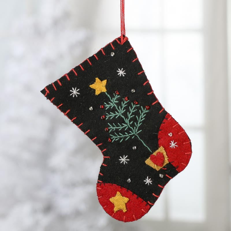 Small Embroidered Christmas Stocking Ornament On Sale