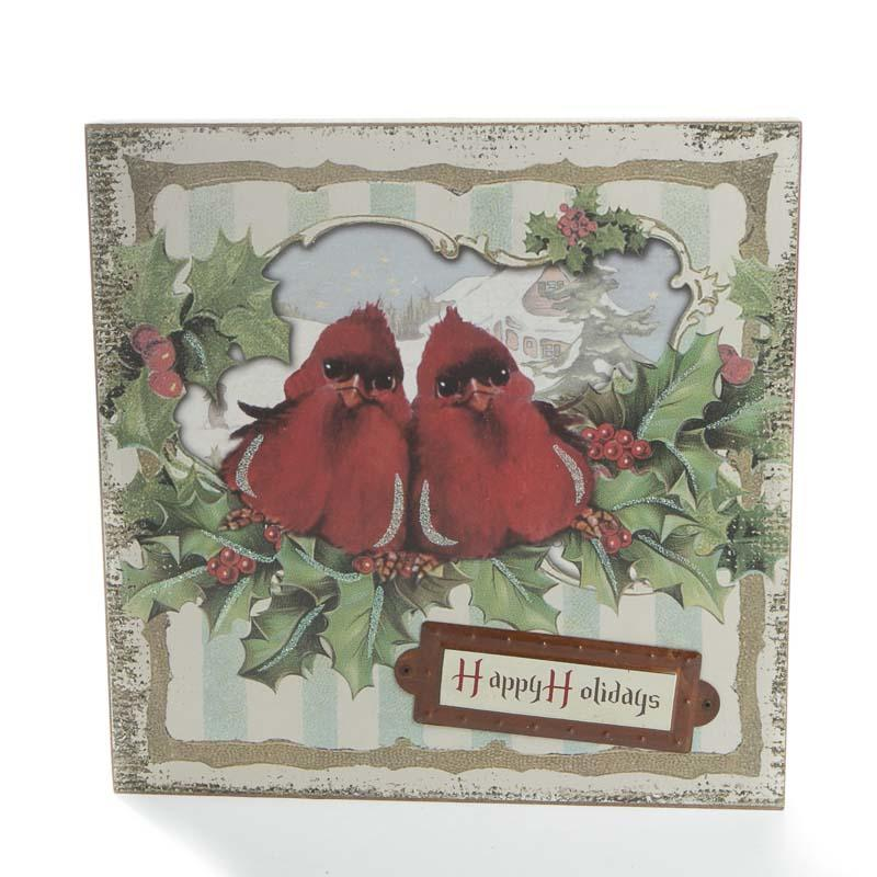 Vintage Christmas Wall Decor : Vintage inspired cardinal quot happy holidays wall art