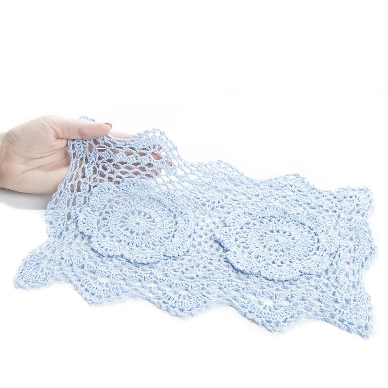 Free Crochet Patterns For Rectangular Doilies : Light Blue Rectangular Crocheted Doily - Crochet and Lace ...
