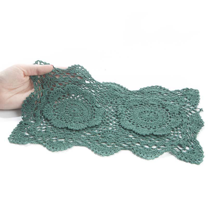 Free Crochet Patterns For Rectangular Doilies : Hunter Green Rectangular Crocheted Doily - Crochet and ...