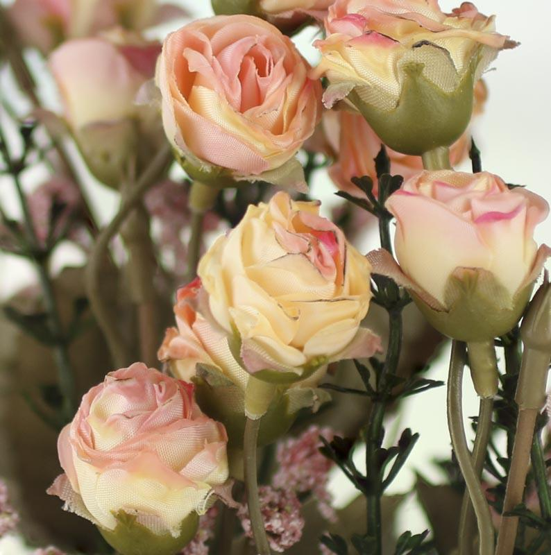 Small Cream And Pink Artificial Dried Antique Rose Bush