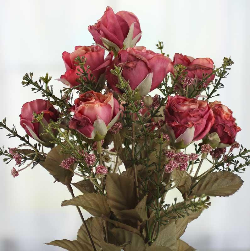 Hot Pink And Peach Artificial Dried Antique Rose Bush