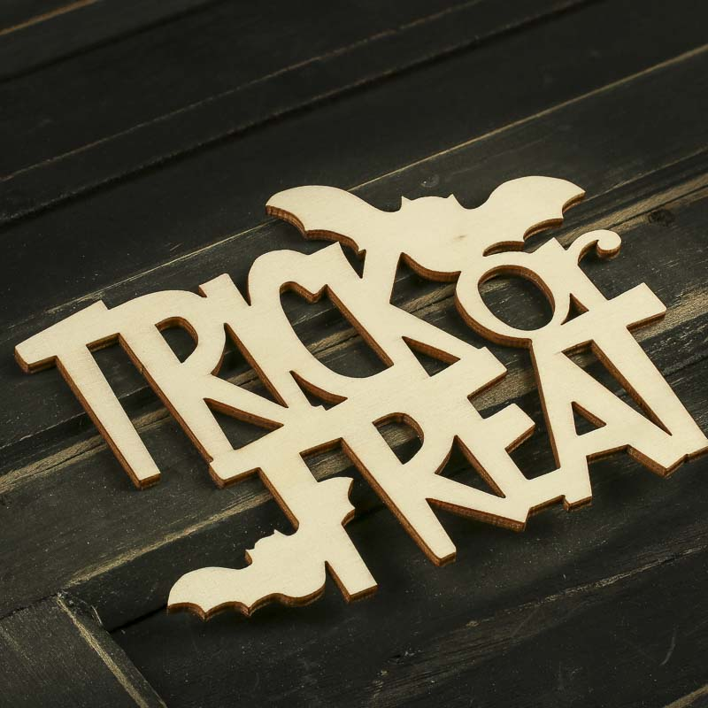Unfinished Wood Laser Cut Quot Trick Or Treat Quot Cutout Wall