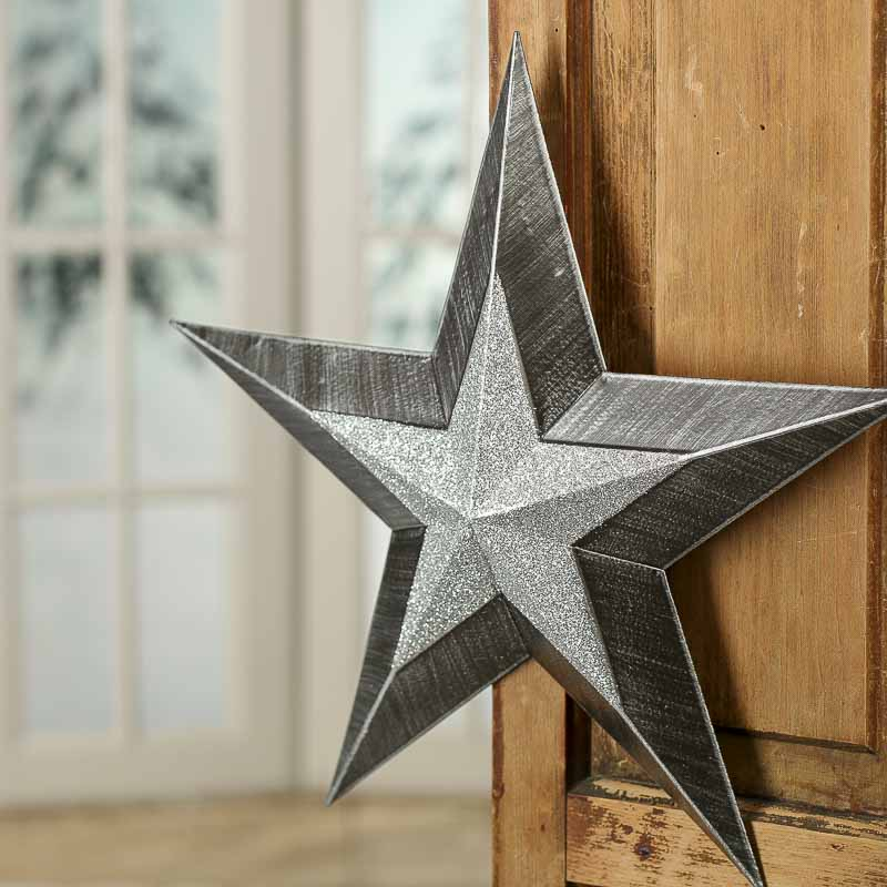 Sparkling rustic black and silver barn star stars